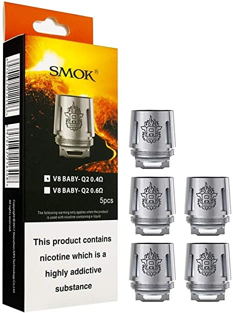 Smok Tfv8 V8 Baby Q2 0 4 Ohm Replacement Coils For Tfv8 Baby Tank E Cigarette Tank And Extra Vape Band Amazon Co Uk Health Personal Care