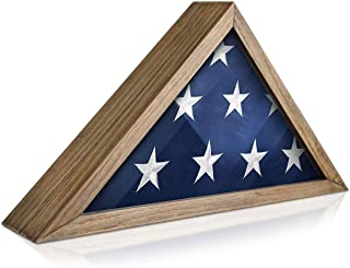 product image for Rustic Flag Case - Solid Wood Military Flag Display Case for 9.5 x 5 American Veteran Burial Flag, Wall Mounted Burial Flag Frame, Flag Shadow Box to Display Folded Flag. (Weathered Wood)