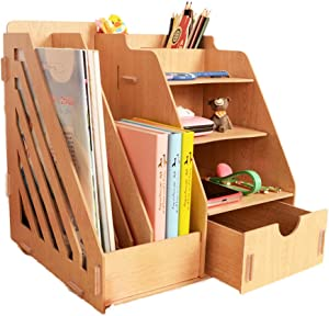 MineSign Wood Desk Organizer Drawer Trays Office Desktop Organizers File Holders Office Supplies 4 Tier 6 Compartments (Grain)