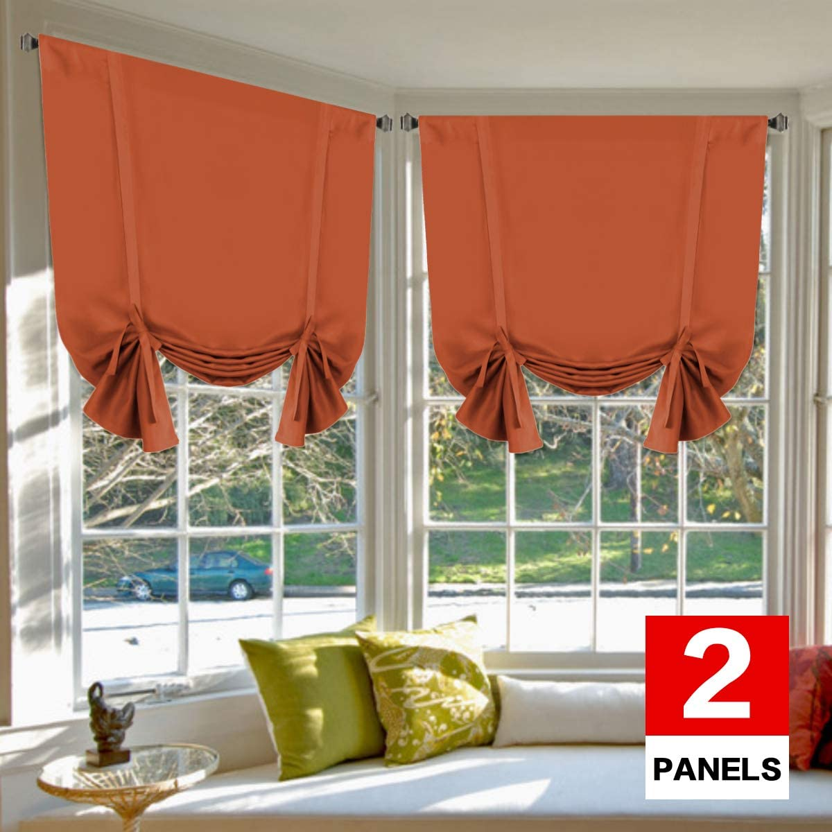 H.VERSAILTEX Blackout Energy Saving Thermal Insulated Tie Up Curtain for Small Window Home Fashion Window Treatment Solid Pattern Rod Pocket Panels for Kitchen, 2 Panels, Orange Ochre