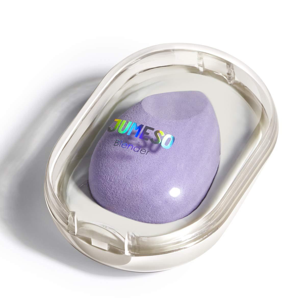Makeup Blender Sponge - JUMESO Beauty Sponge Foundation Blending Sponge with Egg Sponge Blending Travel Case, Flawless for Liquid & Creams & Powers (Pink Purple)