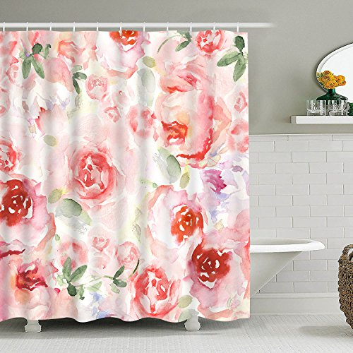 (Bathroom Shower Curtain Romantic Watercolor Flowers Shower Curtains, Durable Fabric Bathroom Curtain Waterproof Bath Curtain Set with 12 Hooks)