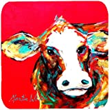 "Caroline's Treasures MW1014FC Cow Caught Red Handed Foam Coasters (Set of 4), 3.5"" H x 3.5"" W, Multicolor"