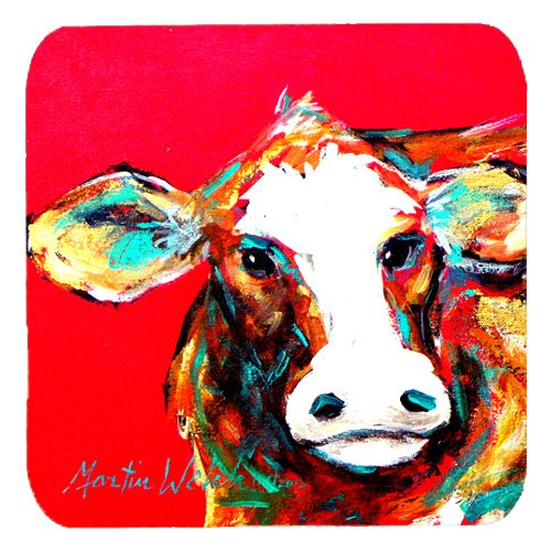 Caroline's Treasures MW1014FC Cow Caught Red Handed Foam Coasters (Set of 4), 3.5