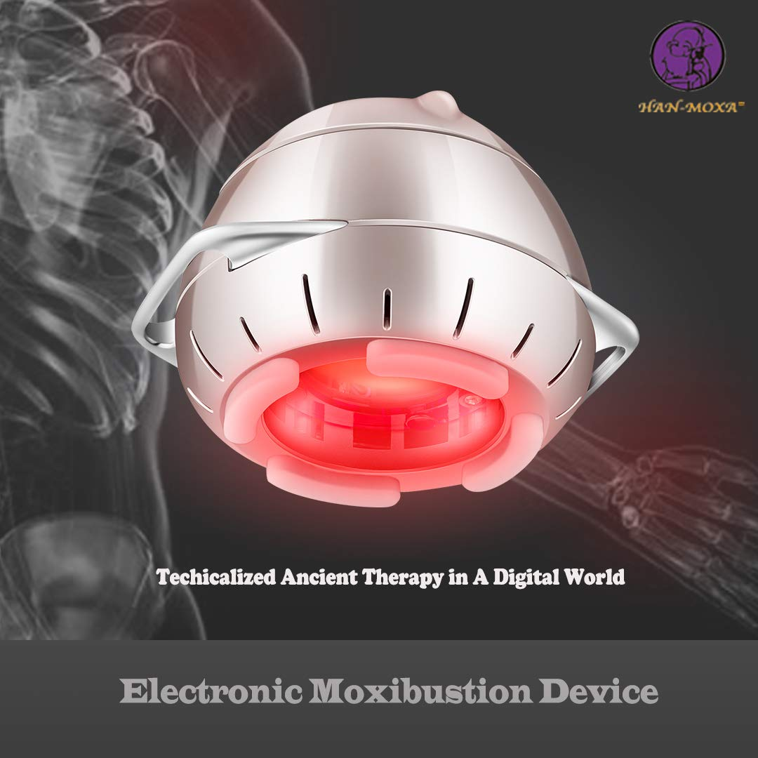 Moxibustion + Aromatherapy Han-Moxa Red LED Light Device for Pain Relief Therapy, Health Care- New, Portable, Smokeless, Safe, Fireless and Intelligent Remote-Control, Comes with 1 Boxes Moxa Discs