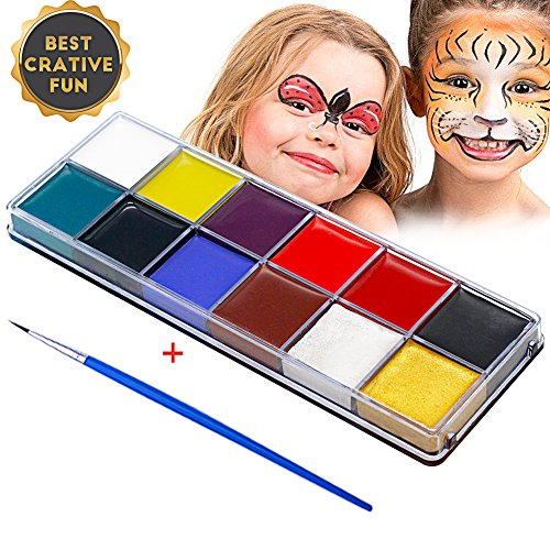 BUOCEANS Face Paint, Professional 12 Colors Color Mega Palette Face Painting Kits for Kids | FDA Approved Non Toxic | Vibrant Colors | Best Cosplay Paint Kit (Best Face Painting For Halloween)
