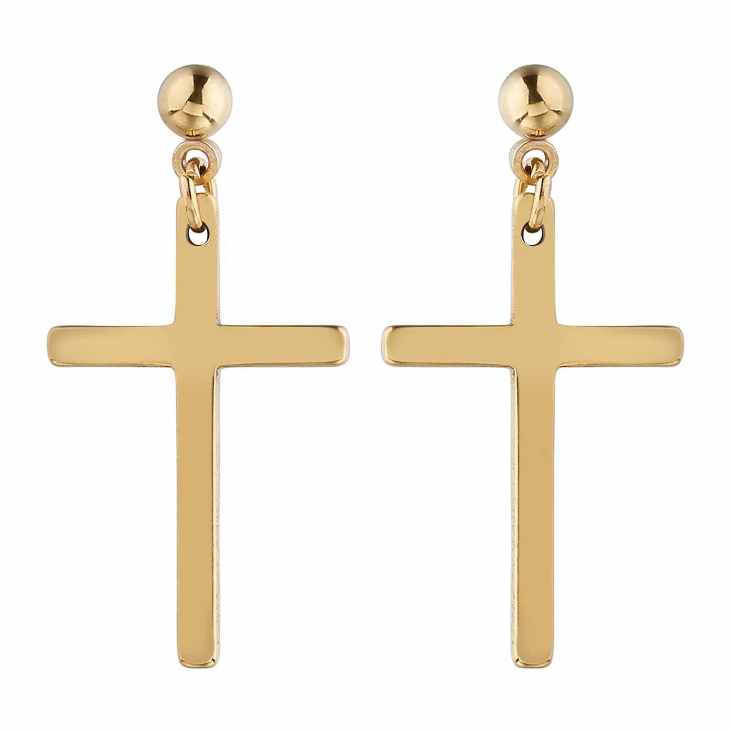 kids delicate pearl gold pin stud small yellow earrings cross