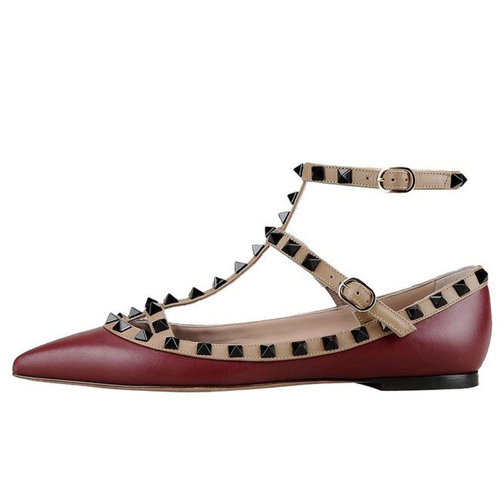 VOCOSI Women's Ankle Strap Studded Pointed Toe Pumps Rivets T-Strap Flat Pumps Dress B0794R9LBC 15 B(M) US|Burgundy(manmade Leather With Black Rivets)