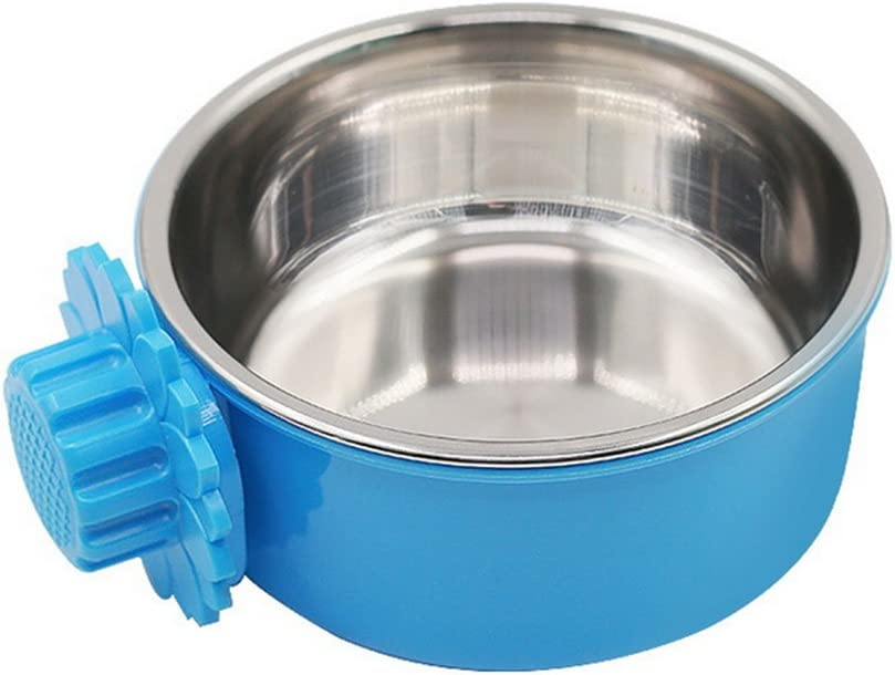 Daycount Pet Feeder Dog Bowl Stainless Steel Food Hanging Bowl Crates Cages Dog Parrot Bird Pet Drink Water Bowl Dish Accessory (L: 6''x2.2'', Blue)