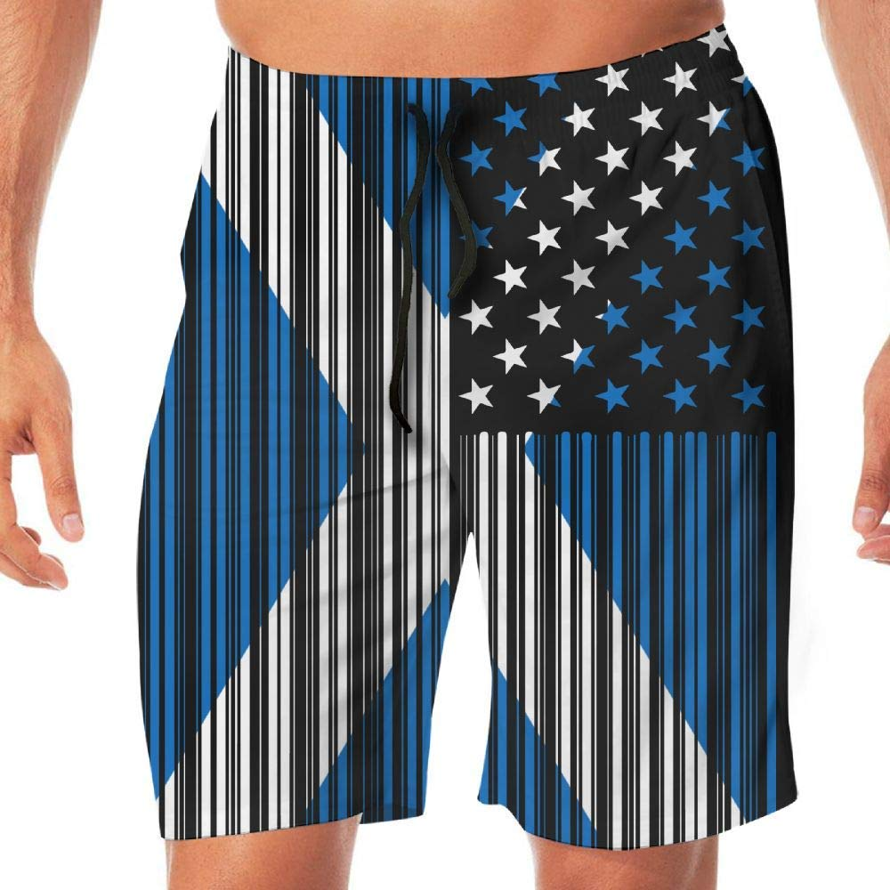 Mens Workout Shorts Bar Coded USA Scotland Flag Casual Sport Beach Board Short Pocket