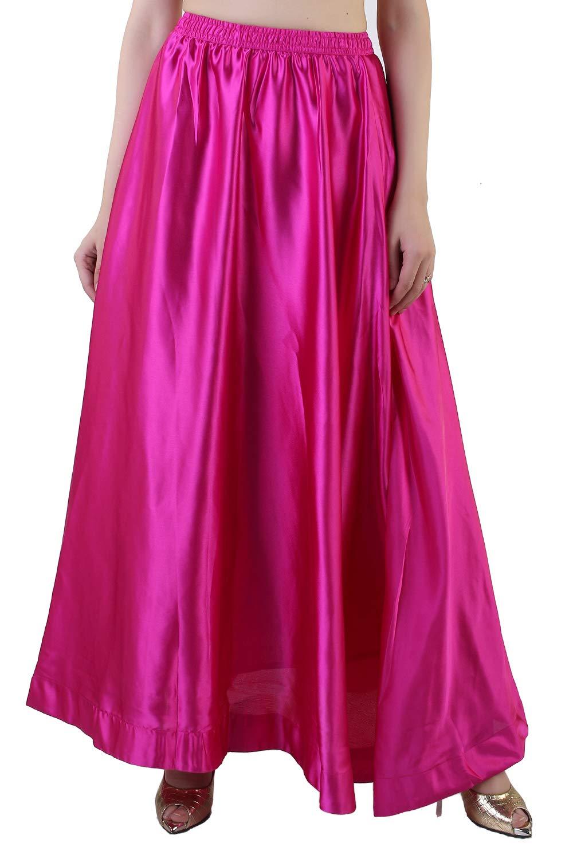 Hot Pink Satin Long Skirt for Women and Girls