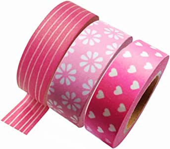Dress My Cupcake Washi Decorative Tape for Gifts and Favors, Pink Collection, Set of 3