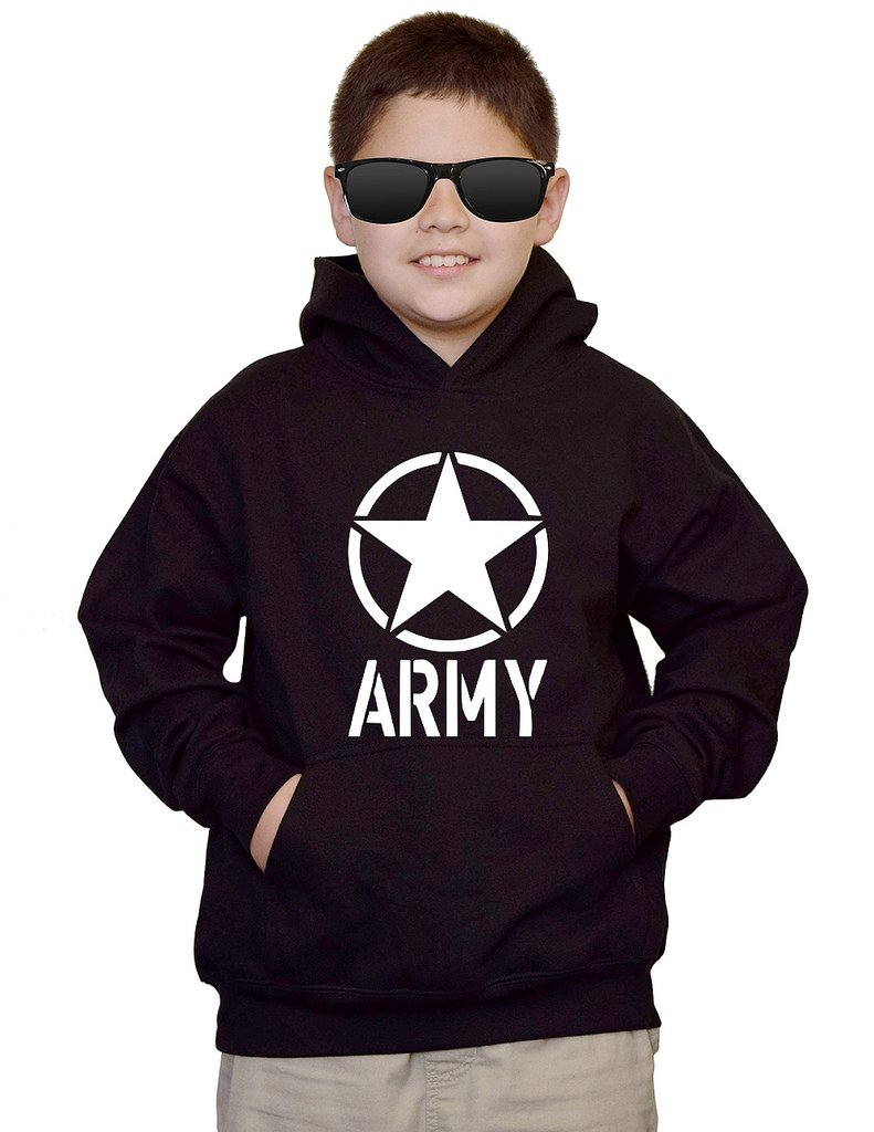 Youth US Army Star V120 Black kids Sweatshirt Hoodie Medium