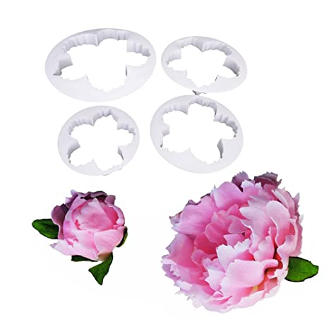 Juego de 4 moldes de plástico para pasta de pétalos de peonía con diseño de flores