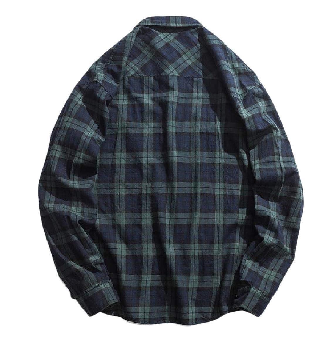 Winwinus Men Relaxed Turn-Down Collar Button Plaid Pockets Western Shirt