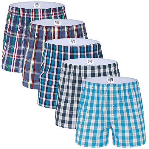 SLJ Men's Woven Boxer Shorts,5 Pack Trunks Tartan Assorted ()