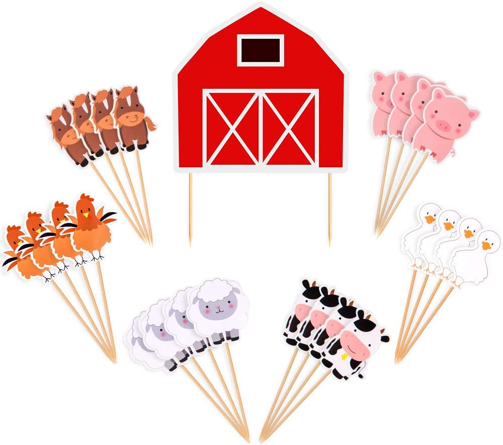 BCHOCKS Farm Animal Cake Toppers Cupcake Toppers Decor Birthday Party Supplies for Baby Shower Birthday Party Favors Farm Zoo Animal Cake Decorations for Cupcake Topper for Kids Boys Girls- 25 PCS