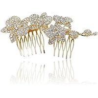 Ever Faith Wedding Orchid Flower Bud Hair Comb Clear Austrian Crystal