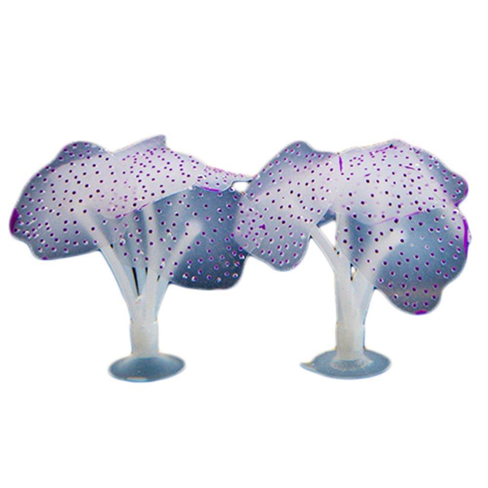 Chytaii 2pcs Coral de Imitación Fluorescente Artificial Decoracion para Acuario Pecera Medusas Simuladas Decoracion de Acuarios Violeta: Amazon.es: Hogar