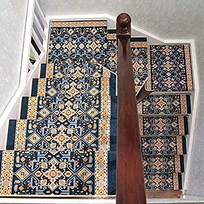 Antideslizantes para escaleras Autoadhesiva Huella de peldaño de Escalera Pad Jacquard Alfombra Alfombra de su casa decoración de Interior TZXSHO (Color : Square Color A(100x24cm), Size : 1pc): Amazon.es: Hogar