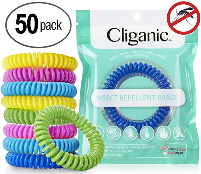 Cliganic 50 Pack Mosquito Repellent Bracelets, 100% Natural | Bug & Insect Protection, Waterproof DEET-Free Band | Pest Control for Kids & Adults