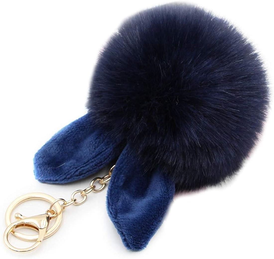 HXINFU Cute Furry Keychain Rabbit Ears Pom Pom Ball Holder Keychain For Women