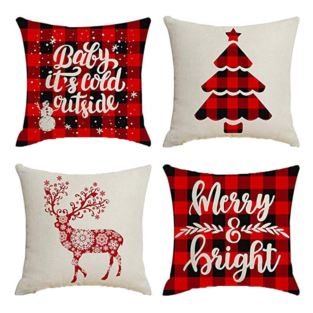 Clearance! Christmas Pillowcases, Christmas Deer Linen Cushion Cover Pillow Case Sofa Bed Home Decoration Festival Pillow Case Cushion Cover (4Pcs C)