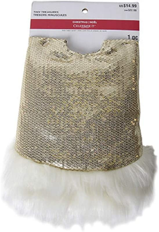 Darice Mini Tree Skirt with Faux Fur Border Gold Sequin