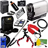 Sony HDR-AS200V Full HD Action Cam with Wi-Fi, GPS & Ultra-Wide 170° Lens - International Version (No Warranty) NP-BX1 Battery & AC/DC Charger + 10pc 64GB Deluxe Accessory Kit w/ HeroFiber Cloth