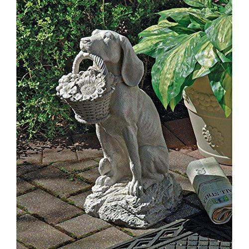 Design Toscano Man's Best Friend Dog with Basket Outdoor Garden Statue, 19 Inch, Polyresin, Antique ()