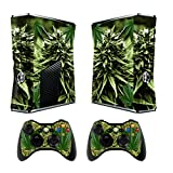 Skin for Xbox 360 Slim Sticker Decals for X360 Custom Cover Skins for Xbox360 Slim Modded Console Game Accessories Set Decal Stickers with 2 Wireless Remote Controllers - Skunk Bud by GameXcel ®