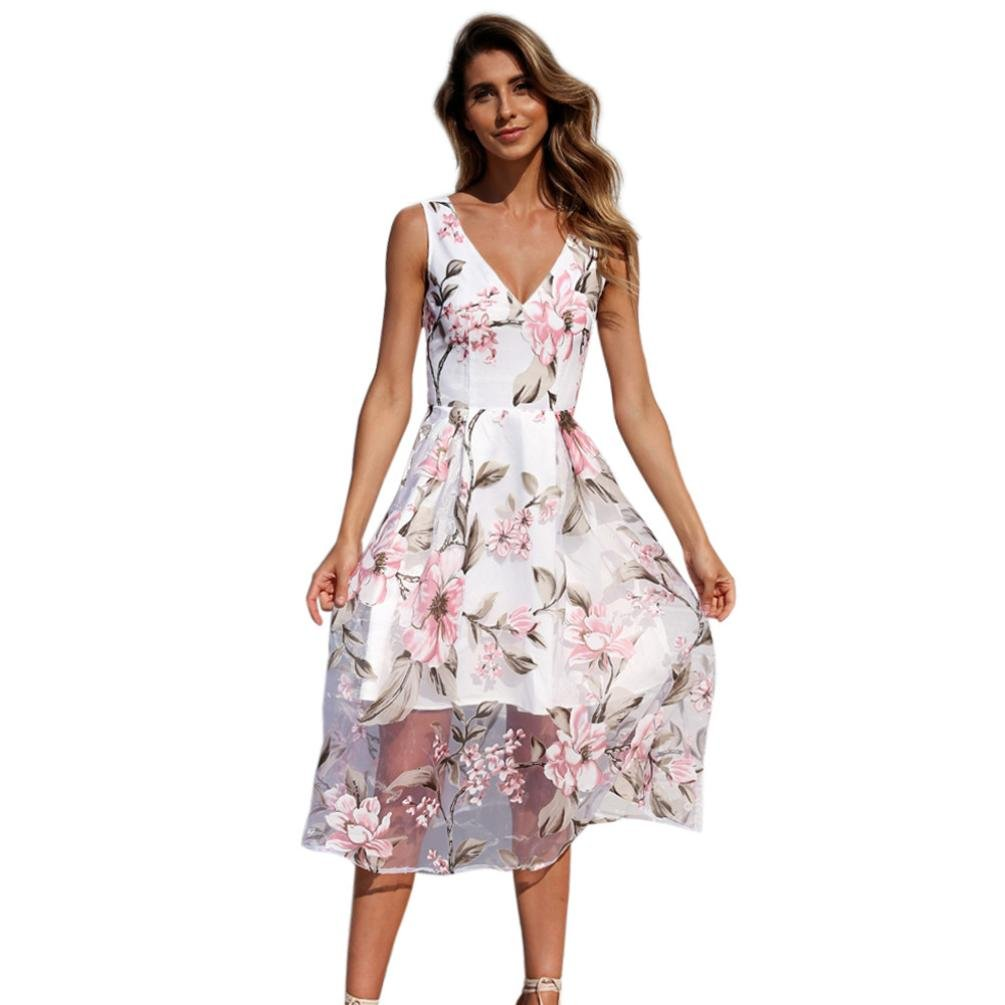 KESEELY Clearance Maxi Dress 2018 Women Summer Mesh Dress Sexy V-Neck Floral Printed Long Fromal Dresses (XXL, White)