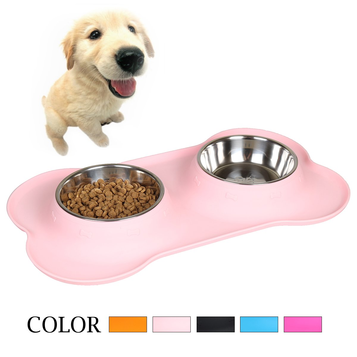 Goetland Stainless Steel Double Dog Water and Food Bowls with Non-Skid No Spill Food Grade Bone Shape Silicone Stand Pink 2 Cup