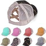 VARWANEO Unisex Baseball Caps Ripped Peaked Cap Adjustable Sport Caps Women Cross Ponytail Cotton Mesh Sun Hat