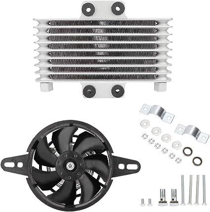 Ventilador de enfriamiento de aceite, motor de aluminio de actualización universal Motor de ventilador de enfriamiento de aceite Radiador de agua: Amazon.es: Coche y moto