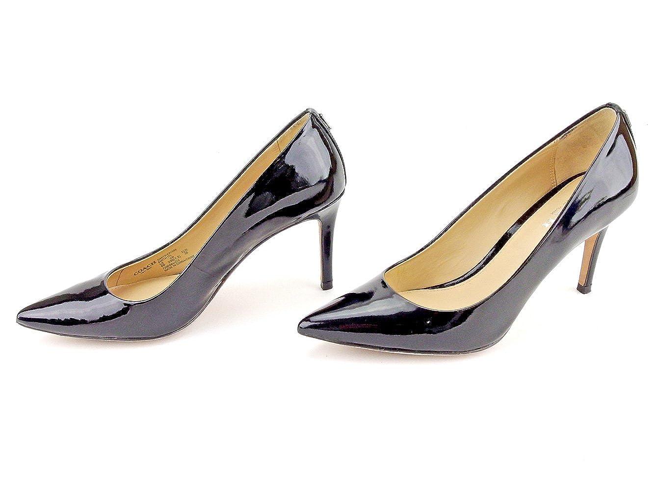 f32731c741fd Amazon | [コーチ] パンプス シューズ 靴 ブラック シルバー ♯36 ハイヒール ポインテッドトゥ レディース 中古 T5243 |  パンプス