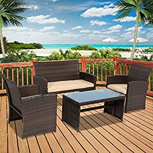 Best Choice Products 4pc Wicker Outdoor Patio Furniture Set Custioned Seats