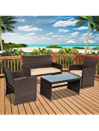 Delightful Best Choice Products 4pc Wicker Outdoor Patio Furniture Set Custioned Seats