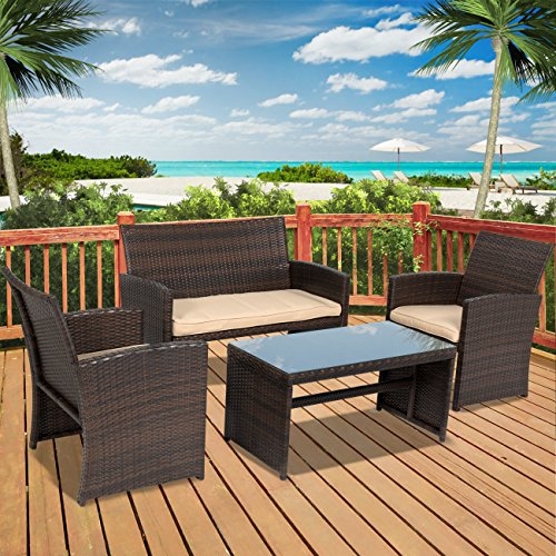Best Choice Products 4pc Wicker Outdoor Patio Furniture Set Custioned Seats (Wicker Set)