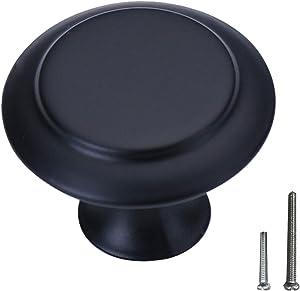 Kitchen Cabinet Knobs, Round Black Drawer Knobs Dresser Knobs 1.2-inch Diameter 30 Pack of Kitchen Cabinet Hardware (Kitchen Cabinet Knobs-Black)