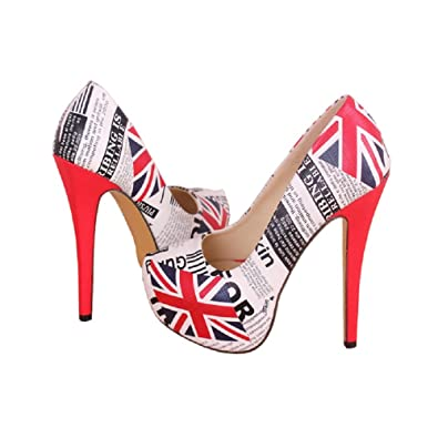 0a56d3284b97 THE LONDON STORE Women White   Red High Heels British Print Pumps ...