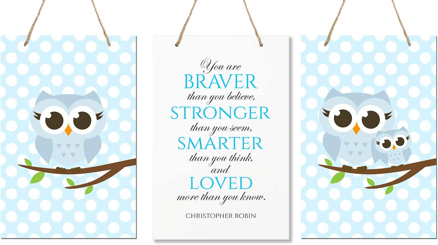 """LifeSong Milestones You are Braver Than You Believe 3 Piece Owl Childrens Wall Decor Signs for Kids, Bedroom, Nursery, Baby's Boys, Girls Room, Size 8"""" x 12"""" Proudly Made in USA (Blue)"""