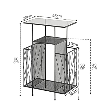 e579c60c2c ZHIRONG Side Table Multi-Layer Storage Rack Creative Magazine Rack Tempered Glass  Table Top Metal