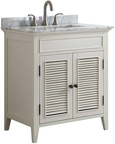 Freestanding Traditional Off-White Shutter Door Style Bathroom Vanity with Marble top Hand Painted Solid Oak Wood with Carrara Marble Counter Modern Farmhouse Vanity Set