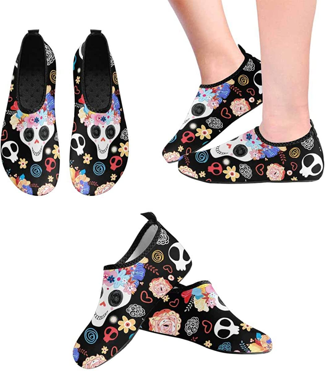 INTERESTPRINT Mens Water Shoes Beautiful Skulls Beach Swim Shoes Quick Dry Aqua Socks Pool Shoes