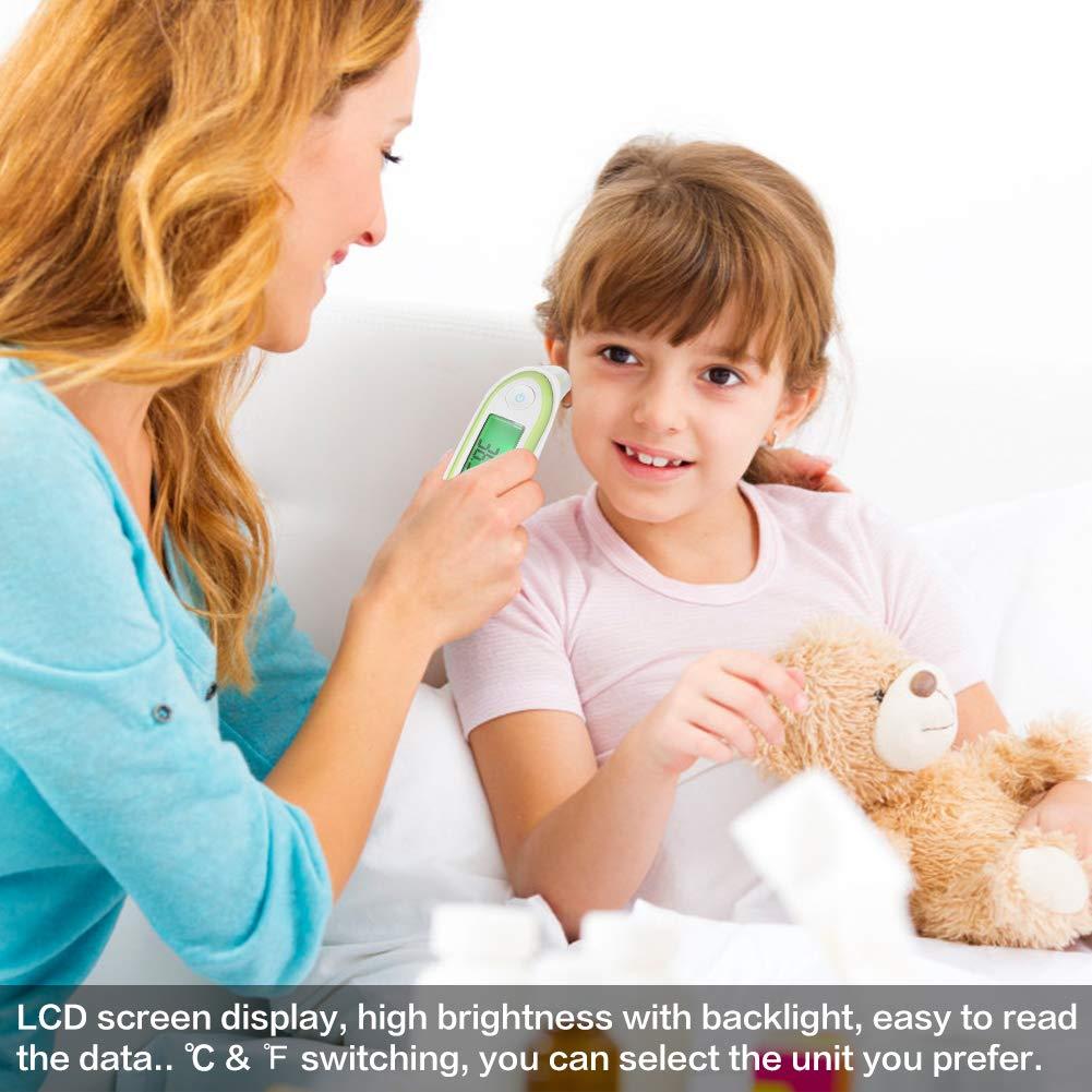 elektronischer Temperatur-Monitor LCD-Digital Ohr- und Stirnthermometer Kleinkinder und Erwachsene Thermometer mit Sound-Prompt und 12 Gruppen-Memory-Funktion f/ür Babys Kinder