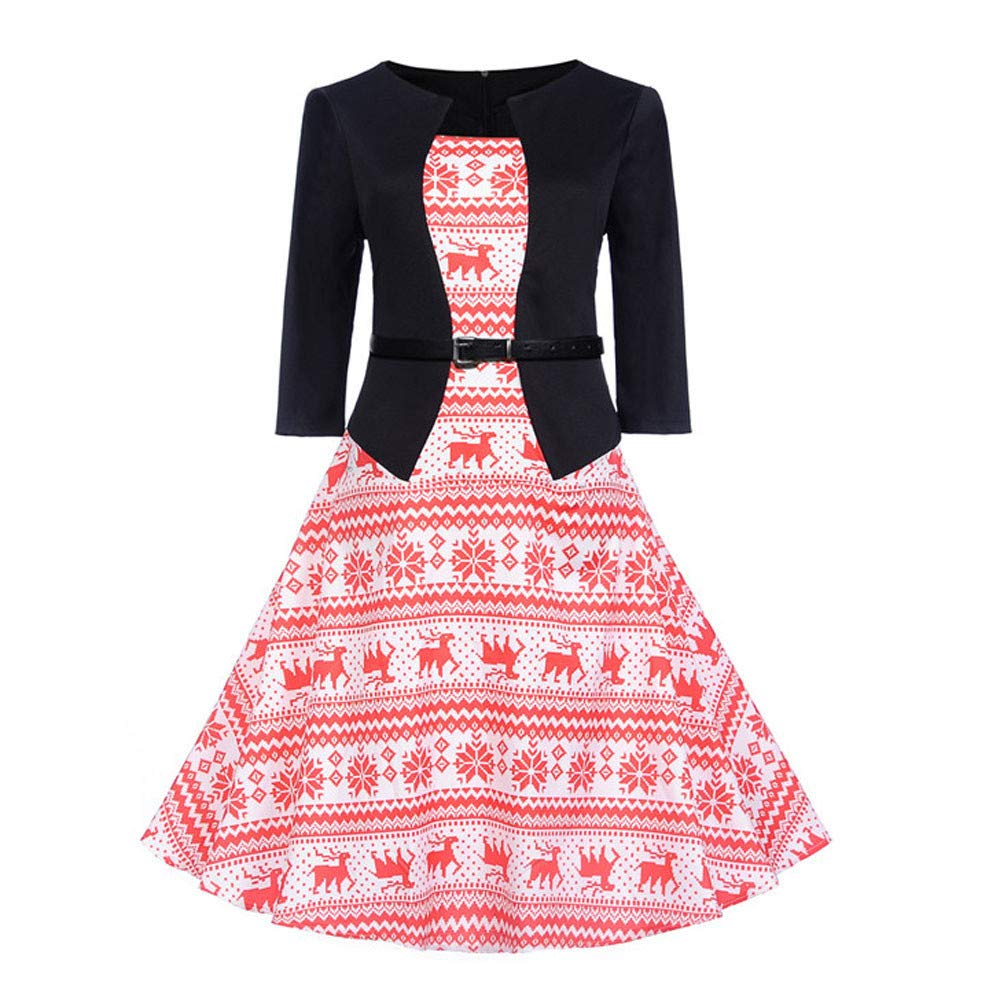 Clearance Sale! Wobuoke Womens Halloween Christmas Vintage Print 3/4 Sleeve Evening Party Swing Dress with Belt at Amazon Womens Clothing store: