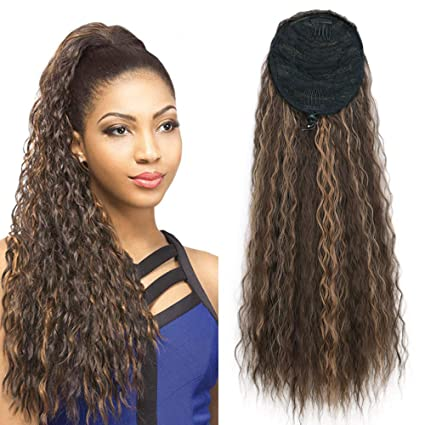 Stamped Glorious 22 Inch Long Curly Wave Clip In Ponytail Extension Synthetic Drawstring Ponytail Extensions Corn Wavy Ponytail Hair Pieces Light