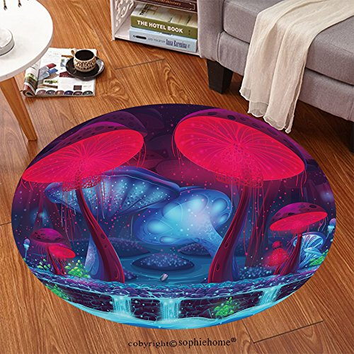 Sophiehome Soft Carpet 331632440 Magic Mushroom Hollow mystical vector background seamless Anti-skid Carpet Round 72 inches (Deluxe Handle Hollow)