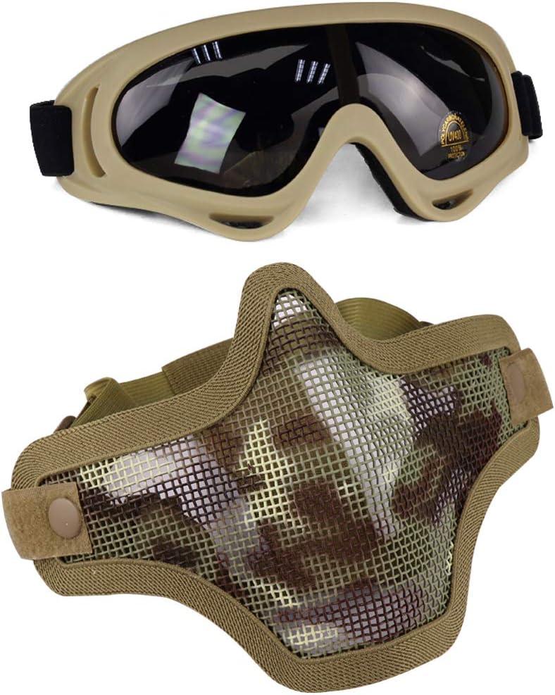 Aoutacc Juego de máscaras y Gafas Airsoft, máscara de Malla de Acero Completa de Media Cara y Gafas para CS/Caza/Paintball/Disparos